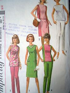 Mod style tunic, pants, dress and skirt sewing pattern I love the panels on this one as they are an ideal way to use designer fabrics without buying endless metres - one single feature panel instead Bust 38 inches - UK Seller - Free UK Postage Simplicity 6015 - Year 1965