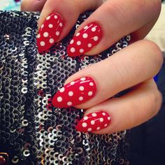 Red almond shaped gel nails white polka dots