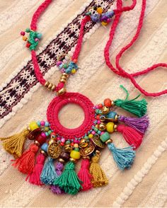 Multicolored hippie necklace multi tassels, coins and bells. Tassel Jewelry, Textile Jewelry, Fabric Jewelry, Jewellery, Fabric Necklace, Diy Necklace, Tassel Necklace, Crochet Accessories, Handmade Accessories