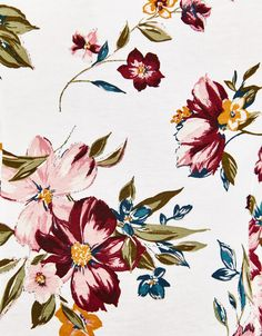 Bodysuit with neckline detail - null - Bershka United Kingdom Botanical Flowers, Botanical Prints, Textile Prints, Textile Design, Textures Patterns, Print Patterns, Floral Artwork, Cloth Flowers, Arte Floral