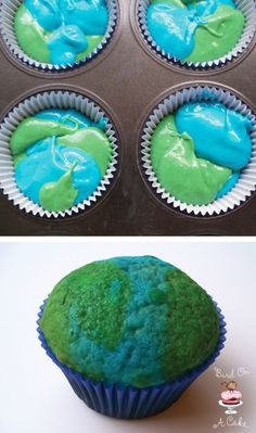Earth cupcakes--Idea for Earth Day in April