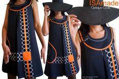 Robe Trapèze habillée Noire Blanc Couture à l'allure année 60 à découpes géométriques stylisées Orange-Pièce Unique -Originale -Robe créateur made in France