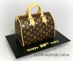 This handbag cake was made to cater for approx 40... Louis Vuitton Cake, Vuitton Bag, Louis Vuitton Handbags, Louis Vuitton Speedy Bag, Shoe Box Cake, Shoe Cakes, Birthday Cupcakes For Women, Birthday Cakes, 60th Birthday