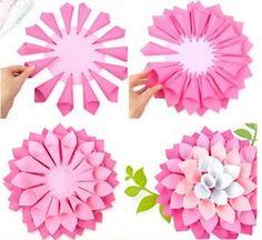 Best 12 Lotus Flower More - SkillOfKing.Com - Paper Flower Backdrop Wedding Flower Crafts, Diy Flowers, Diy Paper, Paper Crafts, Paper Flower Backdrop Wedding, Diy And Crafts, Crafts For Kids, Tissue Paper Flowers, Flower Template
