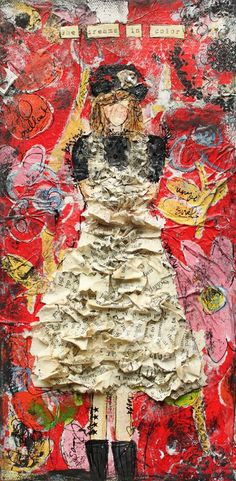 By Christy Tomlinson:   I made the dress out of strips of an old book that I cut using pinking sheers. Then I crumbled them and dipped them into Mod Podge and layed them over the shape of the dress (that I drew on with a pen).
