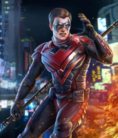 Nightwing from Injustice 2 Mobile Nightwing 2 Injustice 2 Characters, Comic Book Characters, Comic Character, Marvel Comics, Dc Comics Art, Marvel Vs, Damian Wayne, Batman Redesign, Robin Dc