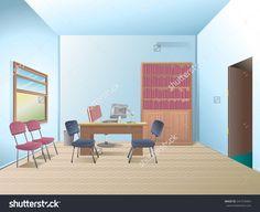 Office room. Empty office. Interior office. Desk.