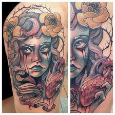 Tattoo by Teresa Sharpe Dream Tattoos, Badass Tattoos, Love Tattoos, Tattoo You, Body Art Tattoos, Tattoos For Guys, Cow Girl, Pinup, Traditional Tattoo Flash