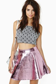 Electric Metal Skirt in Pink