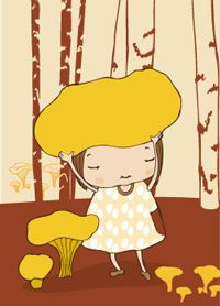 Chanterelle - postcard illustration by Terese Bast. Mushroom Hat, Birch, Fairytale, Projects To Try, Illustration, Fictional Characters, Art, Fairy Tail, Art Background