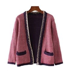 Chicnova Fashion Chunky Knit Cardigan (£20) ❤ liked on Polyvore featuring tops, cardigans, v neck tops, chunky knit cardigan, cardigan top, purple v neck cardigan and v-neck cardigan