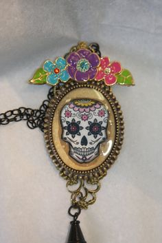 Day of the Dead skull flowers tassel Dia de los by hudathotjewelry, $28.00