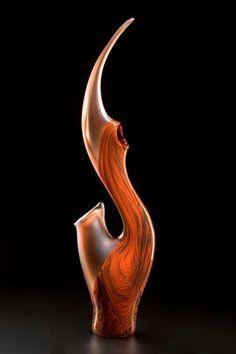 Coral Orange art glass sculpture-The Grand Serenoa by Bernard Katz Glass. Hand blown tall glass sculpture, sandblasted texture.