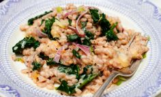 Gojee - Barley Risotto With Blue Cheese And Spinach Recipe by Food Republic
