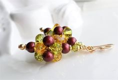 Yellow, Green and Red Swarovski Crystal Cluster Ball Earrings, Swarovski Crystal and Pearl Cluster Earrings by hhjewelrydesigns on Etsy