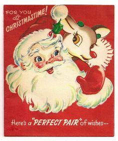 Vintage Rudolph Greeting Card
