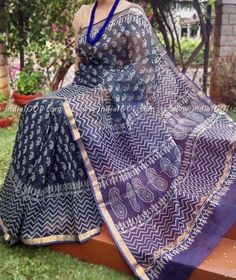 Elegant Kota Silk Saree with block print Kota Silk Saree, Khadi Saree, Indian Silk Sarees, Silk Cotton Sarees, Sari, Kota Sarees, Simple Saree Designs, Simple Sarees, Cotton Saree Designs
