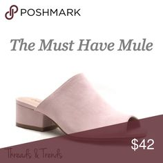 🌸🆕Pale Pink Mule On trend must have mule slides. Search high and low and you won't more perfect slides than these. In a gorgeous pale pink color. Featuring the trending chunky kitten heel. Made of a faux suede. Whole sizes only. Threads & Trends Shoes Mules & Clogs