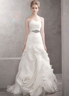 Organza Fit and Flare Gown with Bias Flange Skirt - David's Bridal- mobile