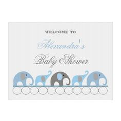 Blue and Gray Elephant Baby Shower Welcome Yard Sign