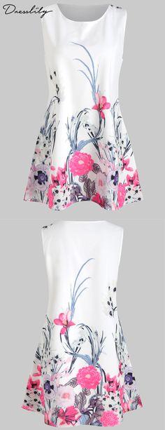 1f832eafd31 Sleeveless Flower Print Dress.Extra 12% off code DL123  dresslily  dresses