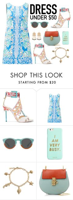"""""""Dress under $50"""" by ana3blue ❤ liked on Polyvore featuring Sophia Webster, Lilly Pulitzer, ban.do, Bling Jewelry, Chloé and Bebe"""