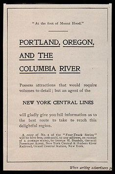 Oregon 1903 AD Railroad Travel To Portland and Columbia River NY Central Lines