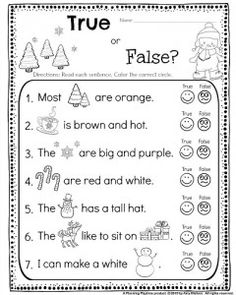 Kindergarten Reading Comprehension worksheet - True or False Silly sentences. Read the sentences. Color the correct face to show whether it is true or false. My kids LOVED this! #kindergarten #worksheets #reading #comprehension