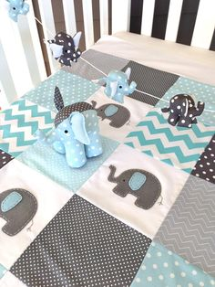 Pachy the Elephant Baby Crib Quilt blue by AlphabetMonkey Patchwork Quilt Baby, Cot Quilt, Baby Quilt Patterns, Nursery Patterns, Elephant Quilt, Elephant Nursery, Elephant Baby, White Elephant, Giraffe