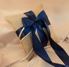 navy blue & burlap wedding | Rustic Earthy Burlap Ring Bearer Pillow with Satin Ribbons.....BOGO ...