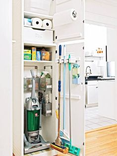 Reorganize Your Utility Closet is part of Cleaning Closet Organization - Transform your utility closet into a lean, mean, home maintenance machine Plus superstar sprays, scrubbers, mops and Laundry Room Storage, Laundry Room Design, Kitchen Organization, Kitchen Storage, Locker Storage, Storage Closets, Laundry Rooms, Organization Ideas, Kitchen Pantry