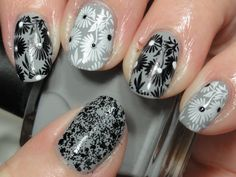 grey floral mani