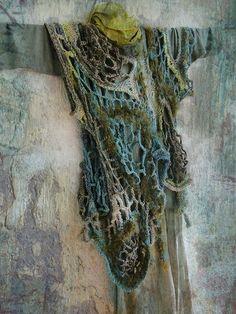 Šarkan; fiber art tunic, like draped seaweed