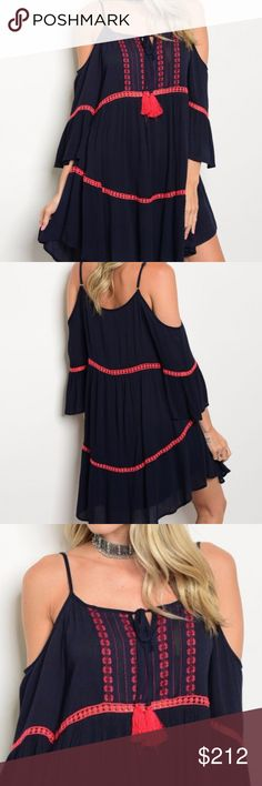 Bohemian Inspired dress NEW!!!      Bohemian inspired 3/4 cold shoulder embroidery detail tunic dress. just add a floppy hat and sandsals. Goregeous Navy blue color with red embroidering!  Lining 100%polyester  Material 100% rayon HVHOUSEWIFE Dresses Asymmetrical