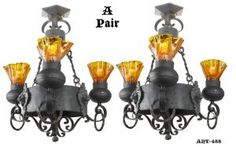 Gothic Victorian Style Antique Wrought Iron Chandeliers with Lion Head Motif - PAIR (ANT-488) #vintage #reproduction #recreation #antique #art #deco #nouveau #doorknob #hardware #lighting #unique #switchplate #victorian #hinge #brass #cast #metal #eastlake #windsor #shade #crystal #glass #electrical #cover #gang #plate #pendant #arts #crafts #mission #period #decor #rail #railing #rococo #romantic #beaux #newel #post #knight #induction #grow #heat #lamp