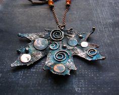 Earthy Necklace Copper Necklace Statement Necklace by MaryBulanova