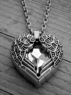 Gothic Valentine's Day Silver Winged Crystal Heart Necklace by Ink & Roses 13