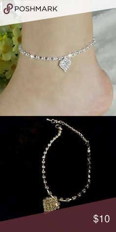Rhinestone heart anklet Rhinestone heart anklet , silver Jewelry