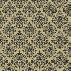 3605 - Damask Ouro Preto - Fabricart Tecidos