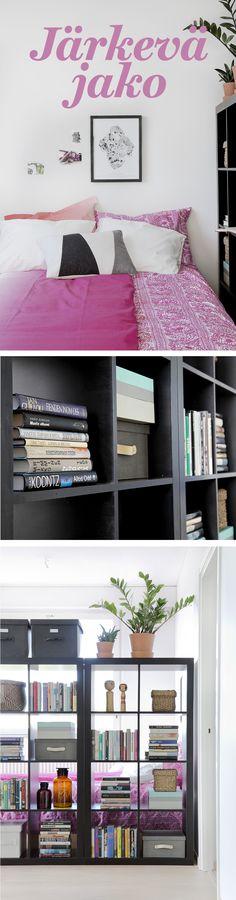 Kimppakämpän olohuoneenkin voi valjastaa asumiskäyttöön tilaajakavien kalusteiden avulla. http://www.olkkari.fi/itse-tehty-alkovi/