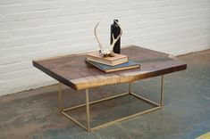 Custom Brass Square Base Coffee Table or Side by ReformBrass