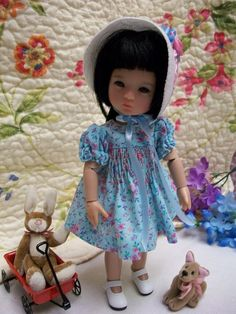 "8"" Ten Ping Pretty Blue Smocked Dress and Embroidered Bonnet  Ruby Red Galleria #HouseofBiscotti"