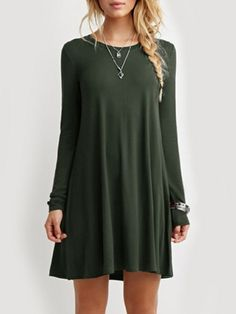 Loose Fitting Fancy Round Neck Shift-dress