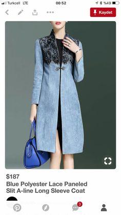 Blue Polyester Paneled A-line Long Sleeve Coat Denim Fashion, Hijab Fashion, Womens Fashion, Jeans Recycling, Mode Hijab, Coat Dress, Mode Inspiration, Mode Style, Girly Girl