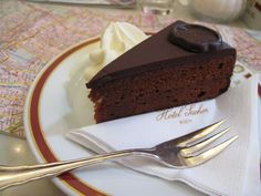 The Original Sacher Torte at the Hotel Sacher At The Hotel, The Originals, Desserts, Food, Tailgate Desserts, Deserts, Eten, Postres, Dessert