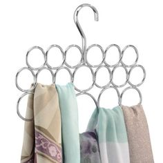 Amazon.com: InterDesign Axis Scarf Hanger, No Snag Storage for Scarves, Ties, Belts, Shawls, Pashminas, Accessories - 18 Loops, Chrome: Home & Kitchen