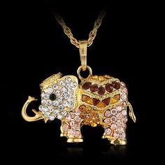 Elegant rose gold jewelry crystal elephant pendant necklace gold elegant rose gold jewelry crystal elephant pendant necklace gold tone chains charms rhinestone aloadofball Choice Image