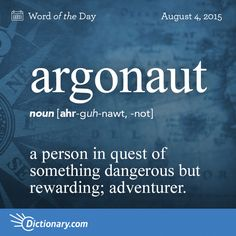 #vocabularyboost. The origin of this word is Greek. It has something in common with Jason and the Argonauts in Greek mythology and their quest for adventure.