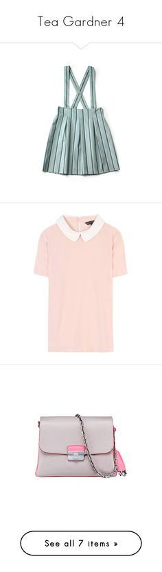 """""""Tea Gardner 4"""" by rtlove ❤ liked on Polyvore featuring skirts, bottoms, dresses, overalls, tops, blouses, shirts, t-shirts, vintage rose and peter pan shirt"""