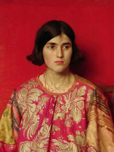 'The Exile: Heavy Is The Price I Paid For Love' (1930) by English Pre-Raphaelite painter Thomas Cooper Gotch (1854-1931). Oil on canvas, 53 x 62 cm. via Wikipedia